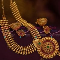 NL10067 Beads Mango Design South Indian Jewellery Set Offer Price Screw Back Jhumka Online