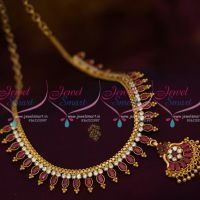 NL9958 Gold Finish Ruby White Semi Precious Marquise Stones Flexible South Indian Handmade Jewellery Set Shop Online