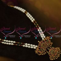 NL9879 Hyderabad Pearl Mala Double Strand Traditional Matte Pendant Broad Gold Design Online