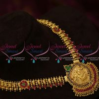 NL9944 Gheru Gold Plated Spinel Ruby South Indian Traditional Finish Haram Designs Online
