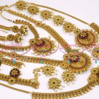B9878 Matte Antique Latest Gold Plated Finish Full Bridal Jewellery Imitation Shop Online