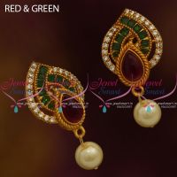 ER9860 Red Green Multi AD White Matte Gold Plated Finish Low Price Ear Studs Buy Online