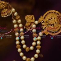 NL9994 Matte Gold Finish Temple Pendant Pearl Beaded Jewellery Jhumka Earrings Online