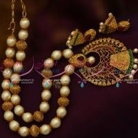 NL9996 Matte Gold Multi Colour Kemp Stones Pearl Fashion Jewellery Set Shop Online