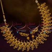 Matte Antique Dull Gold Plated Peacock Necklace Ethnic Jewellery Buy Online