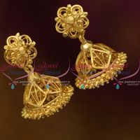 J10041 South Indian Traditional Gold Design Daily Wear Screw Back Jimikki Earrings Online