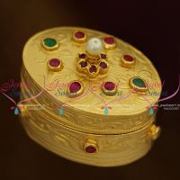 S0023 Oval Shape Semi Precious Stones Sindoor Box Jewellery Finish Handmade