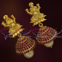 temple-laxmi-god-design-tops-ruby-stone-jhumka-pearl-drops-buy-online-gold-plated