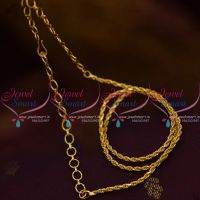 Twisted Design 2 mm Short Gold Plated 14 Inches Chain Back Adjustable Rings Suitable Pendant Sets Casual Wear Jewellery