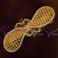 Gold Plated Latest Design American Diamond Hair Clip Semi Precious Stones Matching Accessory Buy Online