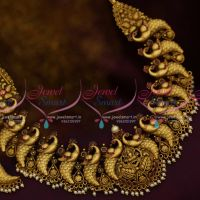 Handmade Intricate Gold Finish Antique Broad Peacock Real Look Jewellery Set Online