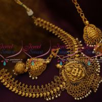 Temple Jewellery Mango Design Ear Chain Jhumka Earrings Antique Collections Online