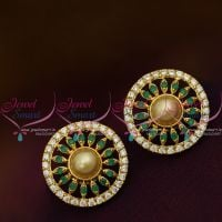 Emerald AD White Round Shape Pearl Tops Ear Studs Normal Size Earring Regular Design Gold Plated