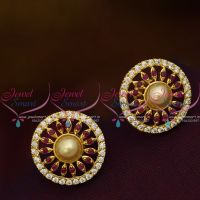 Ruby Red AD White Round Shape Pearl Tops Ear Studs Normal Size Earring Regular Design Gold Plated
