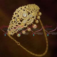 Full AD White Stones Gold Plated Floral Design Bridal Jewellery Vanki Adjustable Free Size Buy Online