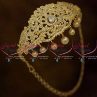 Full White AD Adjustable Size Bajuband Gold Plated Arm Jewellery Gold Plated Traditional Collections