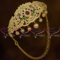 Red Green AD Adjustable Size Bajuband Gold Plated Arm Jewellery Gold Plated Traditional Collections
