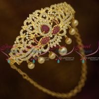 Ruby AD White Stones Gold Plated Floral Design Bridal Jewellery Vanki Adjustable Free Size Buy Online