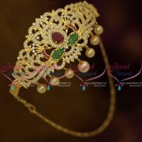 Ruby Emerald AD White Stones Gold Plated Floral Design Bridal Jewellery Vanki Adjustable Free Size Buy Online