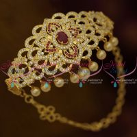 Chain Vanki Bajuband Latest Adjustable Size Sparkling Ruby White Stones Gold Plated Ethnic Jewellery