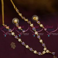 Simple Thin AD Star Design Purple White Colour Stones Fashion Jewellery Low Price Gold Plated Short Necklace