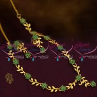 Simple Leaf Floral Design Emerald Green Stones Gold Plated Short Necklace Low Price Fashion Jewellery