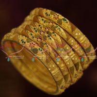 One Gram Forming Gold Plated 6 Pieces Set Meenakari Finish Light Weight Bangles Imitation Jewellery Online