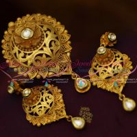 Handmade Gold Plated Beautiful Real Look Intricate Kundan Floral Design Pendant Set Jewellery Online