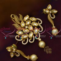 Latest Kundan Pendant Earrings Antique Matte Gold Plated Jewellery Collections Online