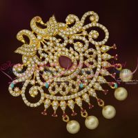 Big Size Ruby White Peacock Hair Decoration U Pin Choti CZ Matching Imitation Accessory