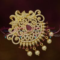 Medium Size Ruby White Peacock Hair Decoration U Pin Choti CZ Matching Imitation Accessory