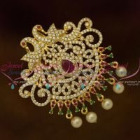 Medium Size Ruby Emerald White Peacock Hair Decoration U Pin Choti CZ Matching Imitation Accessory
