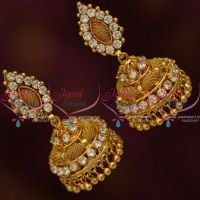 AD White Colour Stones Gold Plated Screw Back Big Size AD Stones Jimikki Earrings Heavy Design Online