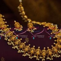 Temple Matte Gold Plated Pearl Danglers Medium Size Haram Set Traditional Jewellery Online