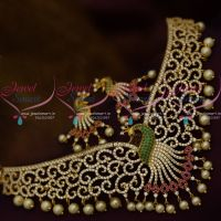 AD Peacock Design Fashion Jewellery Gold Finish Ruby Green Stones Choker Necklace Latest Online