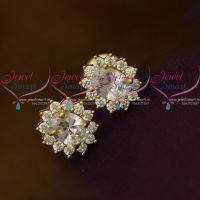 Full AD White Oval Shape Tops Ear Studs Small Size Earring Traditional Design Gold Plated
