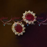 Ruby Red AD White Oval Shape Tops Ear Studs Small Size Earring Traditional Design Gold Plated