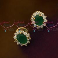 Green AD White Oval Shape Tops Ear Studs Small Size Earring Traditional Design Gold Plated