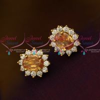 Yellow Topaz AD White Oval Shape Tops Ear Studs Small Size Earring Traditional Design Gold Plated