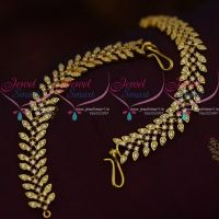 Gold Plated AD White Stones Leaf Design Earchain Mattal South Indian Jewellery Online