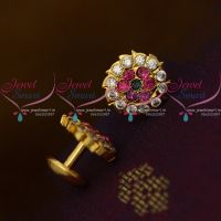 Small Size AD Multi Colour Stones Thick Metal Handmade Screw Back Ear Studs Traditional Designs