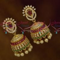 Small Size Fancy Design AD Multi Colour Stones Earrings Latest Fashion Jewellery Designs