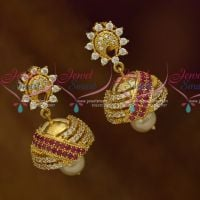Mini Size Fancy Design AD Ruby White Colour Stones Beautiful Earrings Latest Fashion Jewellery Designs