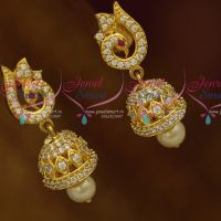 Small Size Peacock Design AD White Colour Stones Beautiful Earrings Latest Fashion Jewellery Designs