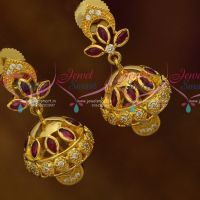 Mini Gold Plated Jhumka Designs Kemp Red White AD Fashion Jewellery Online
