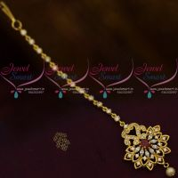 AD Marquise Red White Colour Stones Latest Design Forehead Jewellery Nethichutti South Indian Online