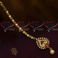AD Small Size Ruby White Colour Stones Low Price Forehead Jewellery Nethichutti South Indian Online