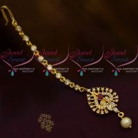 AD Small Size Red White Colour Stones Low Price Forehead Jewellery Nethichutti South Indian Online