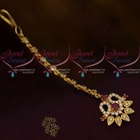 Ruby White AD Jewellery Hair Accessory Small NethiChutti South Indian Fashion Collections Online