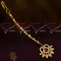 Red White AD Jewellery Hair Accessory Small NethiChutti South Indian Fashion Collections Online